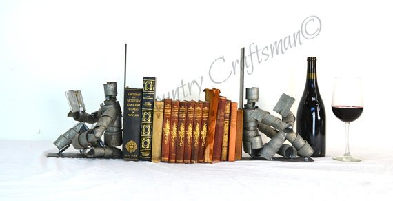 WINE BOT Collection - Relaxing with a Good Book - Wine Bot Bookends