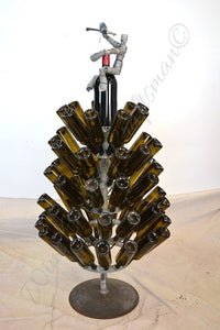 HOLIDAY - Winter's Day - Wine Barrel Bottle Tree with Wine Bot Topper