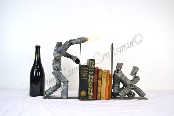 WINE BOT Collection- Lesa - Wine Barrel Ring Reading Bookend and Light