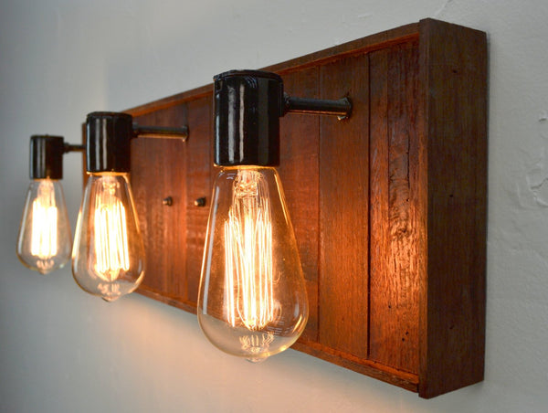 RUSTIC Collection - Kidai - Wine Barrel Bath Vanity Light made from reclaimed Napa wine barrels