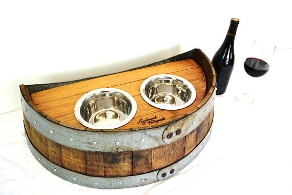 PET Collection - Demitasse - Wine Barrel Pet Feeder - elevated food and water dish