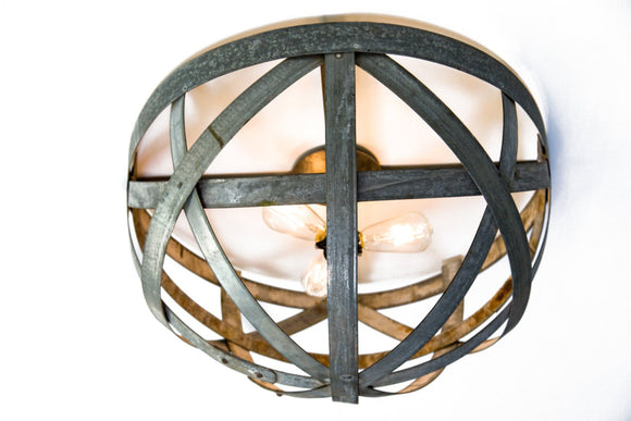 ATOM Collection - Orbis - Wine Barrel Ring Flush Mount Chandelier