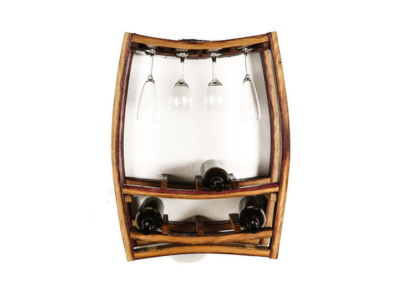WINE RACK Collection - Rosato - Wine Barrel Hanging Wine and Glass Rack