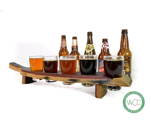 SAMPLER -  Pasa - 5 Glass Wine Barrel Stave Beer Flight