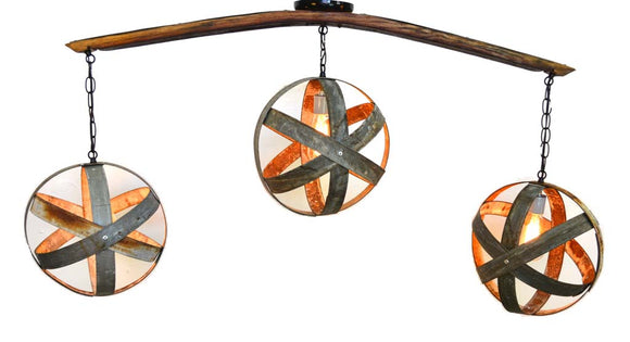 ATOM Collection - Trilateral - Wine Barrel Flushmount Chandelier