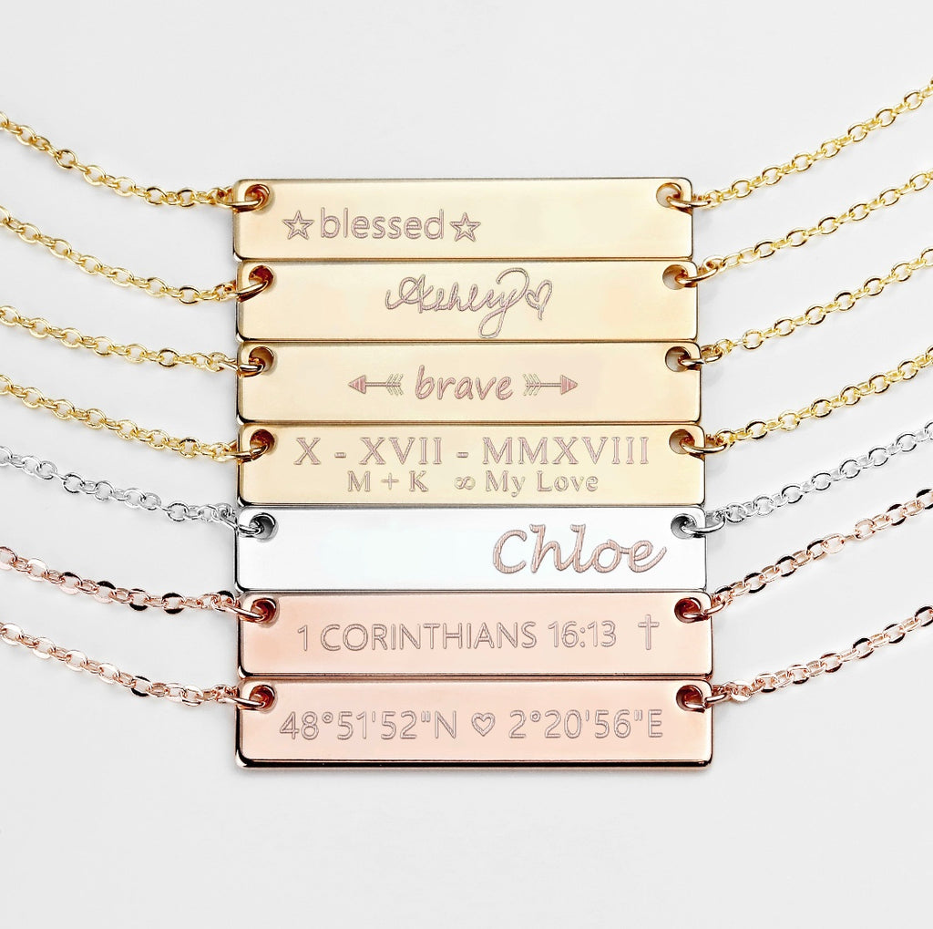Personalized 16k Bar Necklace