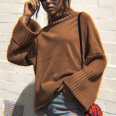 Contracted Temperament Pure Colour High Collar Sweater