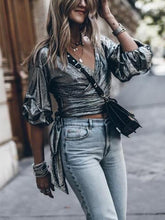 Ruffled Puff Sleeves V-neck Blouses Top