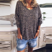 Sexy V-neck Leopard Print Long Sleeve T-Shirt