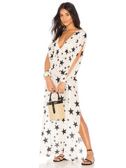 V-neck Star Printed Split-side Cover-Ups