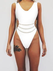 Plain Link Chain One-Piece Swimsuit