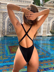Backless Plain One-piece Swimsuit