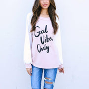 Round Collar Splicing Letter Printing Casual Sweatshirt