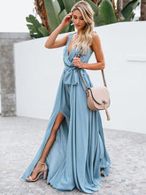Solid Color Deep V-neck Split-side Maxi Dress