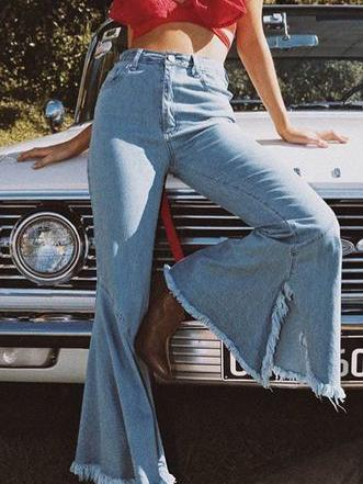Split-side Denim Bell-bottom Jean Pants