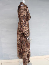 V-neck Chiffon Irregular Leopard Printed Maxi Dress