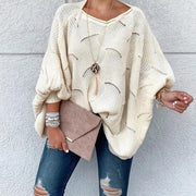 Casual Loose Hollow Bat Sleeve Knit Sweater