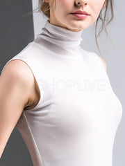Mesh Solid High Collar Sleeveless Vest Tops