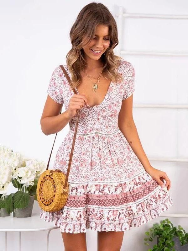 Vacation Round-neck Printed Mini Dress