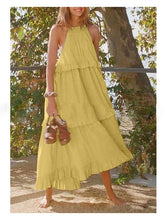 Halterneck Ruffled Spaghetti-neck Sleeveless Solid Maxi Dress