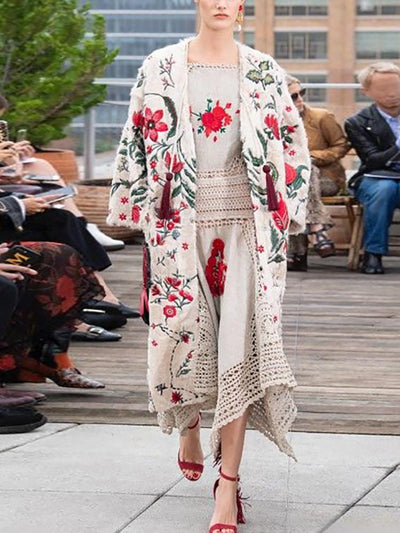 Fashion Floral Print Loose Long Sleeve Coat