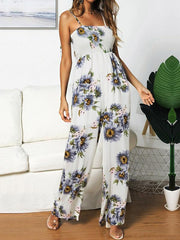 Sunflower Printed Spaghetti-neck Jumpsuits
