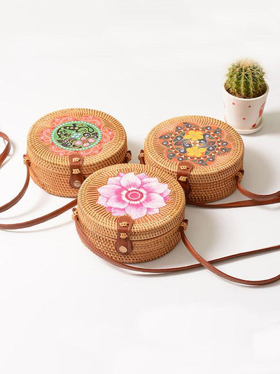 Forest Style Rattan Flower Pattern Round Bag