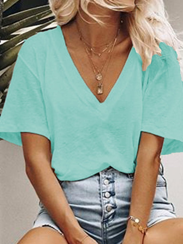 Women Casual Loose V neck T Shirt Tops