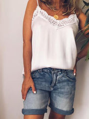 Women Casual Tops Tunic Lace Tanks Vest