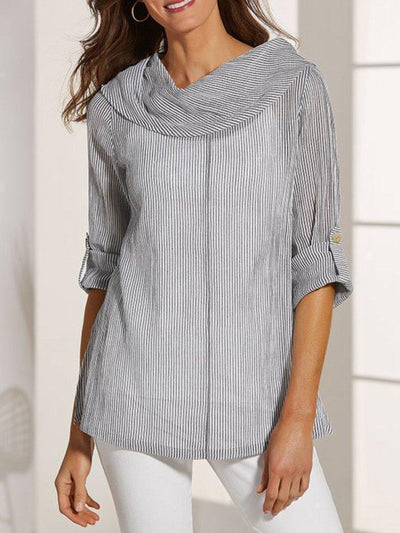 Light Gray Crew Neck Casual Shirts & Tops