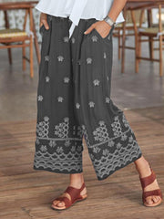 Printed Casual Wide Leg Pants