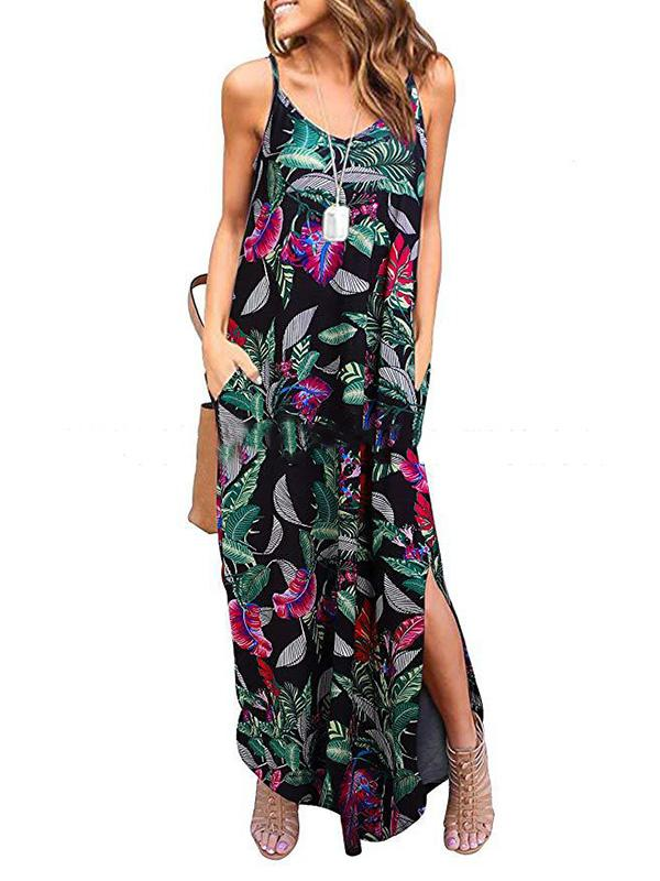 Loose Printed Condole Belt Midi Dress