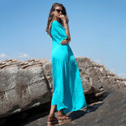 Loose Solid Color Single Breasted V-neck Maxi Dress