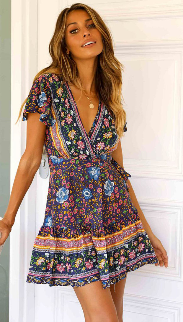 Cotton V-neck Printed Ruffled Short Sleeve Bohemia Dresses