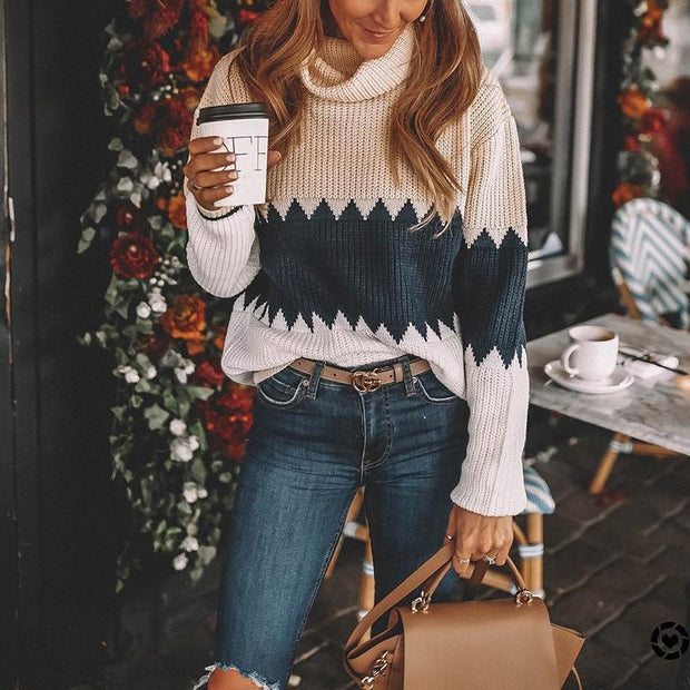 Casual High Lap Collar Contrast Color Loose Sweater