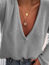 Simple 7 Colors V-neck Sweater Tops