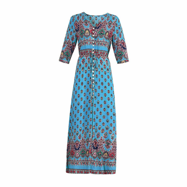 Bohemia Printed Floral Button Front Maxi Dresses