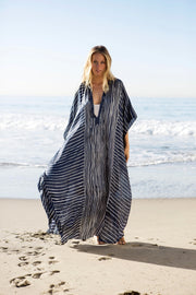 Chifffon Striped Side Split Long Beach Cover Ups