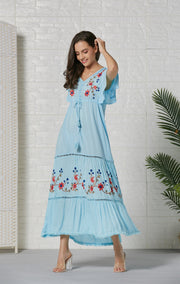 Floral Embroidery V-Neck Tassel Plus Size Bohemia Dresses