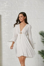 Hollow V-neck Lotus Sleeve Solid Color Bohemia Dresses