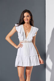 White Lace Deep V-neck Hollow Out Mini Dresses