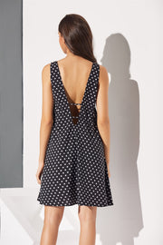 Polka Dot Strappy Backless Sexy Mini Dresses