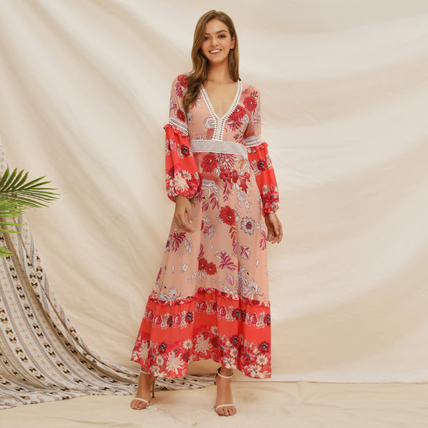 Printed Floral Ruffle Latern Sleeve V Neck Lace Bohemia Dresses