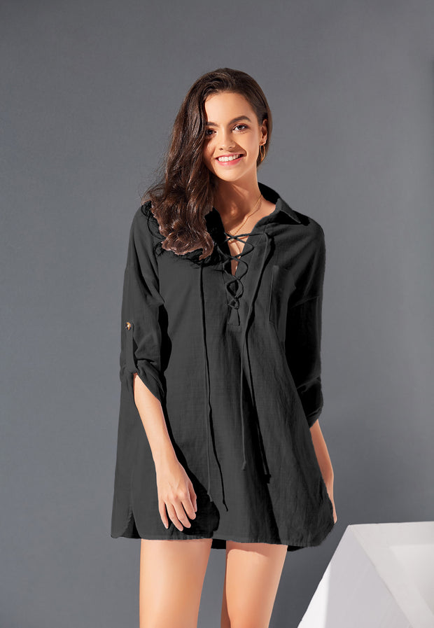 Loose Solid Strappy Long Sleeve Shirt Mini Dresses