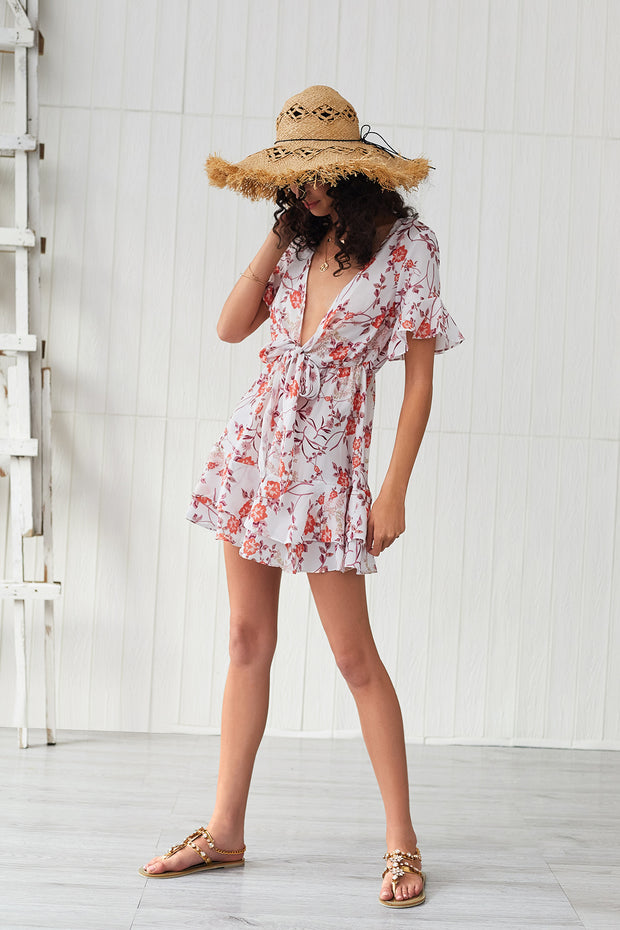V-neck Printed Short Sleeve Bohemia Dresses
