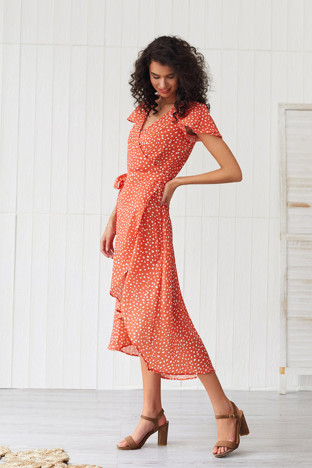 Polka Dot Printed Asymmetric V-neck Bohemia Dresses
