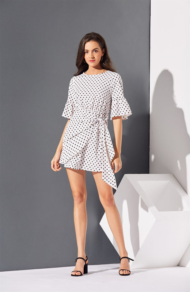 Polka Dot Bandage Flare Sleeve Mini Dresses