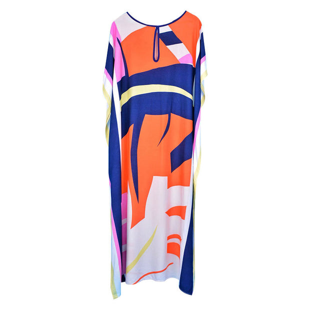Print Cotton V-neck Loose Batwing Sleeve Summer Cover Ups