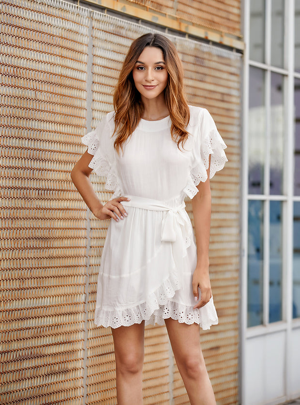 O-neck Lace Ruffle Elegant Party Mini Dress