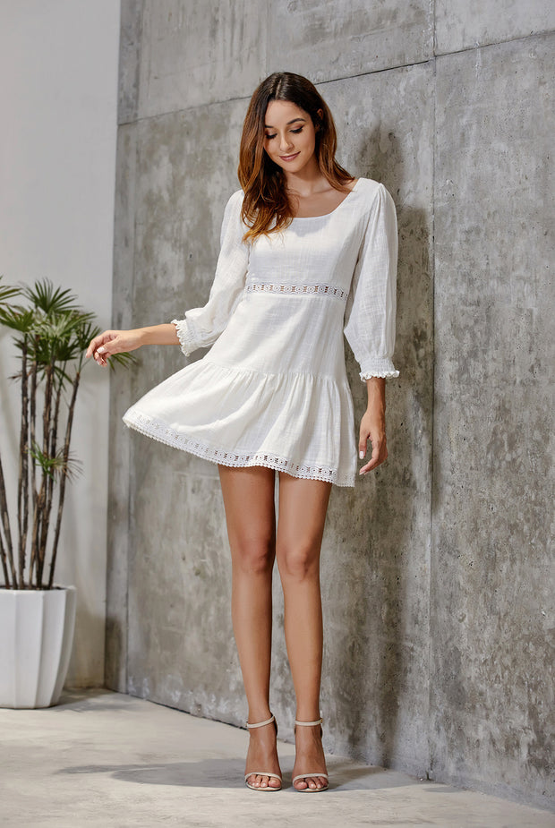 3/4 Sleeve Hollow Out Solid Party Mini Dresses